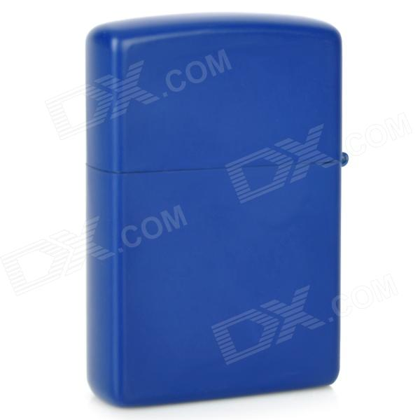 Smooth Panel Style Zinc Alloy Cigarette Cotton Oil Lighter - Blue