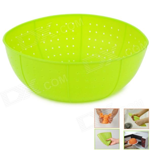 Multi-Function Kitchen Folded Silicone Rice Washing Basket - Green