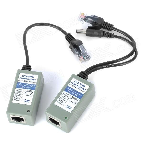 Ethernet Power / Video / Data Transceivers Kit - Cement Grey single channel power video audio transceivers set cement grey