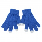 Casual Capacity Touch Screen Protective Cotton Wool Gloves for Iphone - Deep Blue (Pair / L Size)