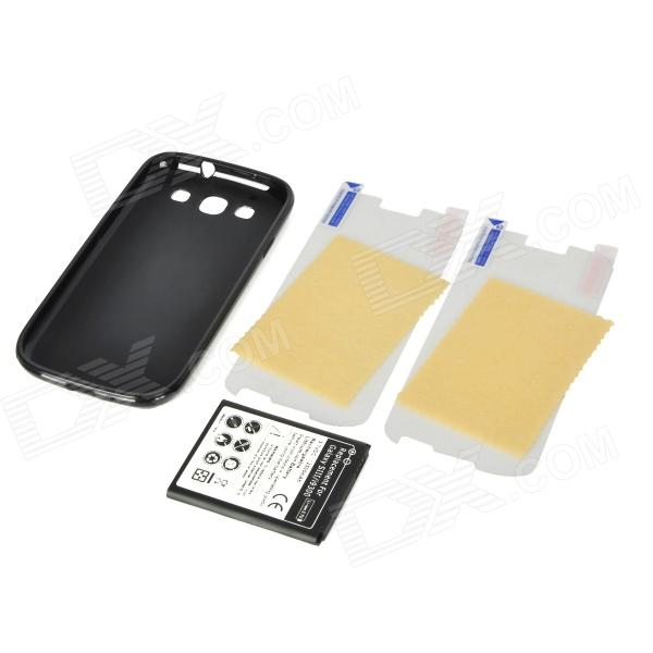 Rechargeable 3.7V 2500mAh Battery w/ PVC Back Case + Screen Protector for Samsung i9300 - Black