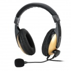Oakorn OK-101 Stereo Headphone w/ Microphone - Black + Golden