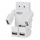 Robot Style USB 2.0 4-Port Hub w/ 2-LED Indicator Light - White