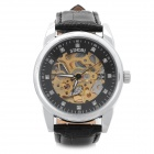 SINOBI 3272 Genuine Leather Band Mechanical Digital Self-Winding Skeleton Wrist Watch - Black
