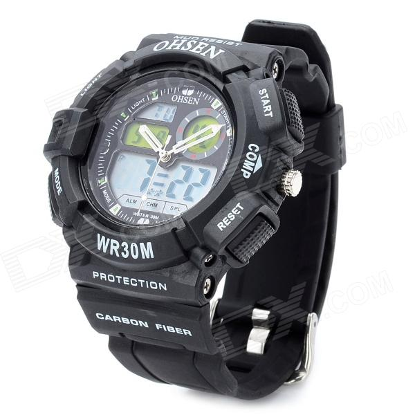 OHSEN AD1210 Sport Man's PU Band Quartz Analog + Digital Waterproof Wrist Watch - Black (1 x CR2025) weide brand irregular man sport watches water resistance quartz analog digital display stainless steel running watches for men