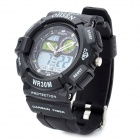 OHSEN AD1210 Sport Man's PU Band Quartz Analog + Digital Waterproof Wrist Watch - Black (1 x CR2025)