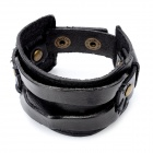 Fashion Punk Style Snap Fastener Genuine Cow Leather Bracelet - Black