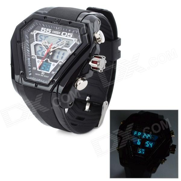 OHSEN AD1208 Hexagon Shaped PU Band Analog + Digital Wrist Watch for Men - Black (1 x CR2025)