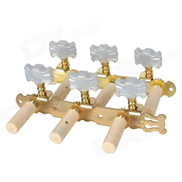 William Tri-Heads Gold Plated Classical Guitar String Tuning Pegs Tuners - Golden (2 PCS) sews alice aos 020b1p 2pcs left right classical guitar tuning key plated peg tuner machine head string tuner