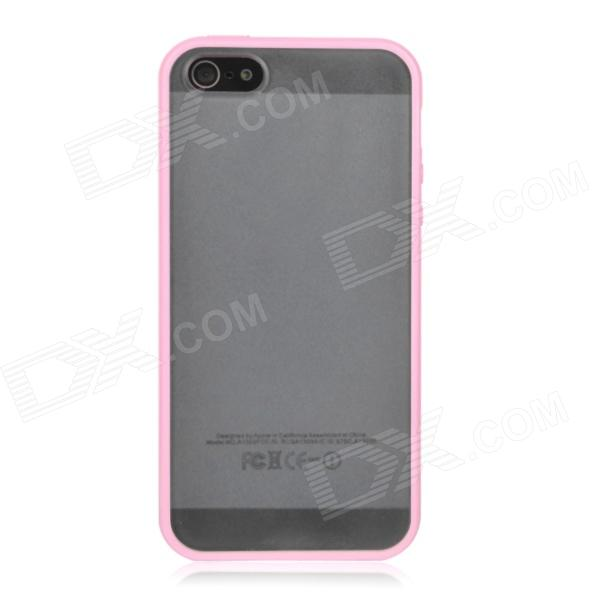 Ultra-Thin Protective Plastic Hard Back Case for Iphone 5 - Transparent + Pink ultra thin matting protective plastic back cover case for iphone 5 pink
