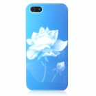 Leuchtende Lotus Flower Pattern Protective ABS Hard Case für iPhone 5 - Blau + Weiß
