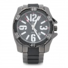 GEMAX 6248 Fashion Stainless Steel Quartz Analog Waterproof Wrist Watch - Black (1 x LR626)