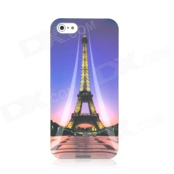 Noctilucent Eiffel Tower Pattern Protective ABS Hard Back Case for Iphone 5 - Colorful 3d solid cat pad phone case stand cover for iphone 7 plus