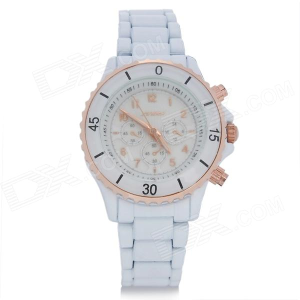 SINOBI 9412 Fashion Womans Alloy Band Quartz Analog Waterproof Wrist Watch - White (1 x LR626)Mens Quartz Watches<br>Brand SINOBI Model 9412 Quantity 1 Piece Color White Band Material Alloy Suitable for Adults Gender Women Style Wrist Watch Type Fashion watches Display Analog Movement Quartz Display Format 12 hour format Water Resistant 30m water resistant Features Fashion design great for daily wear Dial Diameter 2.4 cm Dial Thickness 1 cm Band Length 22 cm Battery 1 x LR626 battery (included) Packing List 1 x Wrist watch<br>