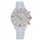 SINOBI 9412 Fashion Woman's Alloy Band Quartz Analog Waterproof Wrist Watch - White (1 x LR626)