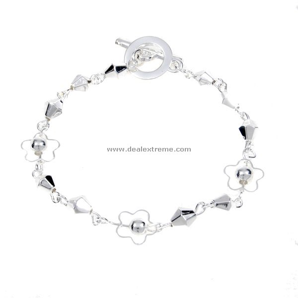 Beautiful 925 Silver Flower Bracelet (2-Pack) beautiful darkness