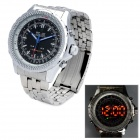 WEIDE WH904 Stainless Steel Digital + Analog Quartz LED Wrist Watch for Men - Silver (1 x SR626)