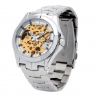 Daybird 3337 Stainless Steel Analog Auto Mechanical Skeleton Wrist Watch for Men - Silver