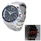 WEIDE WH903 Stainless Steel Analog + Digital Quartz LED Wrist Watch for Men - Silver (1 x SR626)