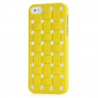 Woven Mesh Pattern Protective Plastic Back Case for Iphone 5 - Yellow