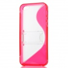 S-Line Style Protective TPU + Plastic Back Case w/ Holder Stand for iPhone 5 - Red + Transparent