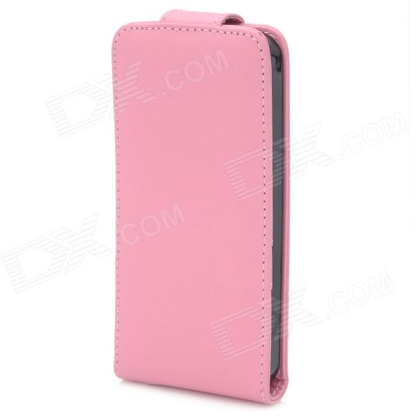 Protective Flip-Open PU Leather Case for Iphone 5 - Pink