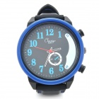Casual Rubber Band Quartz Analog Waterproof Wrist Watch - Black + Blue (1 x 377)