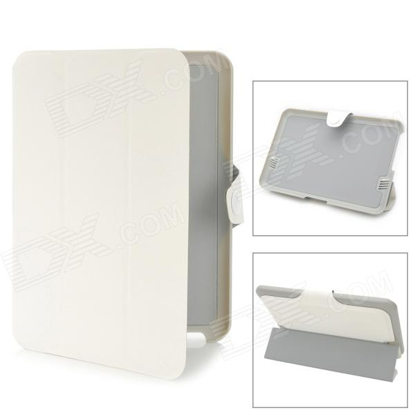 Protective PU Leather Case w/ Magnetic Buckle for Kindle Fire HD - White