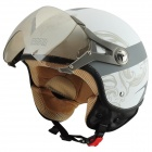 Cool BEON A5 Motorcycle Outdoor Sports Racing Half Helmet - White + Grey (Size L)