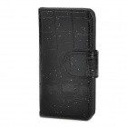 Snake Skin Texture Protective PU Leather Cover Plastic Back Case w/ Card Slots for Iphone 5 - Black