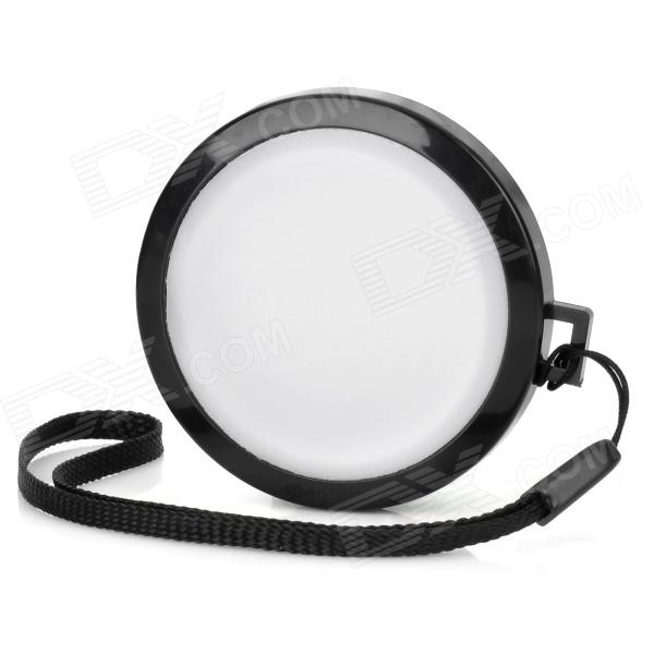 MENNON 49mm Camera White Balance Lens Cap Cover w/ Hand Strap - Black + White