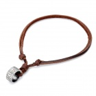 Cool Punk Style Cowhide Chain Ring Pendant Necklace - Silver + Brown