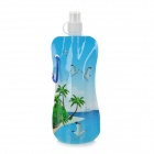 Portable Folding Outdoor Plastic Water Bottle Bag - Blue + White (1 L)