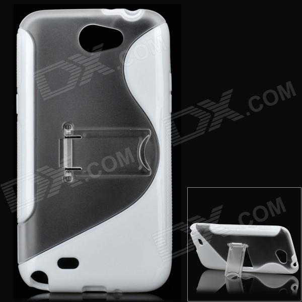 Protective Plastic Back Case w/ Stand for Samsung N7100 Galaxy Note2 - White + Transparent metal ring holder combo phone bag luxury shockproof case for samsung galaxy note 8