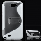 Protective Plastic Back Case w/ Stand for Samsung N7100 Galaxy Note2 - White + Transparent