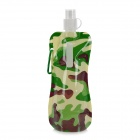 Portable Folding Outdoor Plastic Water Bottle Bag - Camouflage Green (500ml)