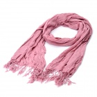 Fashion Korean Style Cotton + Hemp Wrinkle Scarf Shawl - Pastel Violet