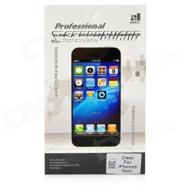 Glossy PET Back Screen Protector w/ Cleaning Cloth for Iphone 5 - Transparent