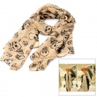 Skull Pattern Chiffon Scarf Shawl - Light Yellow