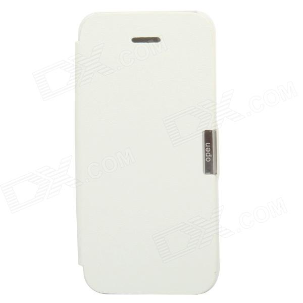 S-002 Protective Flip Cover PU Leather Case for Iphone 5 - White