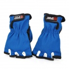 Sports Anti-Slip Half-Finger Gloves - Blue + Black (Pair)