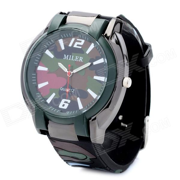 Outdoor Sports Silicone Band Quartz Analog Wrist Watch - Camouflage (1 x 377 Battery)