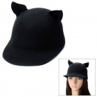 Cute Cat Ears Wool Hat Cap - Black 