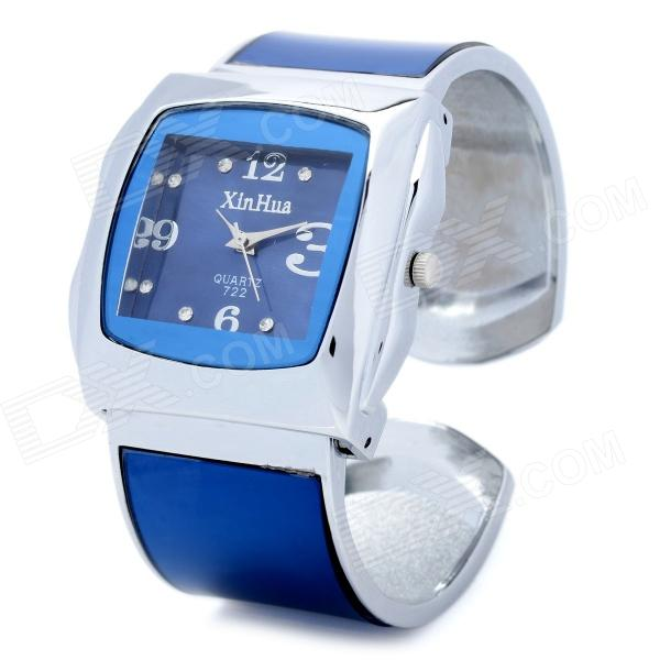 Fashion Clip Style Quartz Analog Wrist Watch for Women - Blue + Silver weiqin luxury gold wrist watch for women rhinestone crystal fashion ladies analog quartz watch reloj mujer clock female relogios