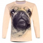 Laonongzhuang 3D Printed Pug Pattern Long Sleeve T-Shirt for Men - Khaki + Black (Size-XXXL)