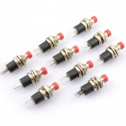 6959 DC 50V Round Push Button Power Switches - Red + Silver + Black (10 PCS)