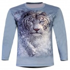 Laonongzhuang 3D Printed Tiger Pattern Long Sleeve T-Shirt for Men - Dark Sea Green (Size-XXXL)