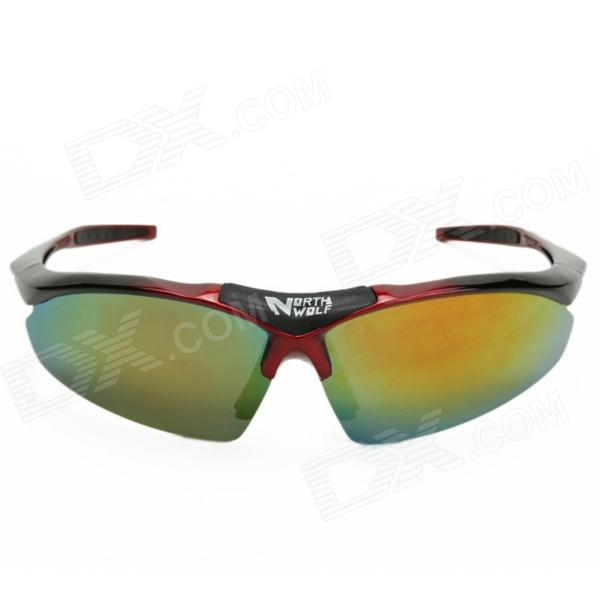 Northwolf 1105 UV400 Protection Polarized Sunglasses w/ Replacement Lenses for Cycling - Red + Black topeak outdoor sports cycling photochromic sun glasses bicycle sunglasses mtb nxt lenses glasses eyewear goggles 3 colors