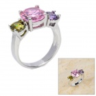Stylish Zircon + Copper Ring - Pink + Silver