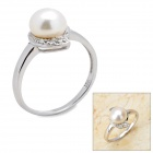 ZZB IR0702 Stylish 925 Silver + Natural Pearl Finger Ring - Silver